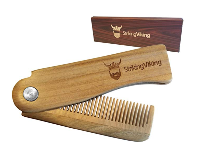 striking viking foldable wooden comb for men