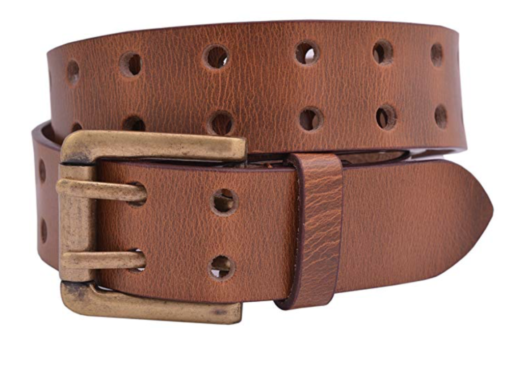 Full grain buffalo leather belt brown