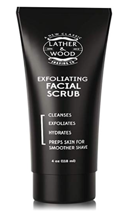 Lather & Wood Face Scrub - Exfoliating Face Wash For Men 4 oz tube