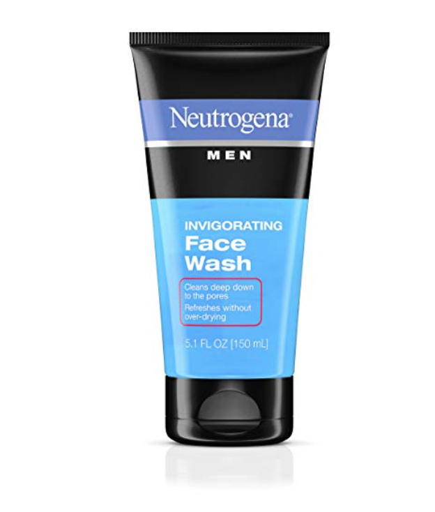 5.1 fl oz bottle of Neutrogena invigorating face wash for men with oily skin