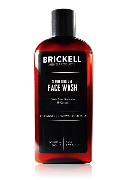 brickell clarifying gel face wash for men bottle