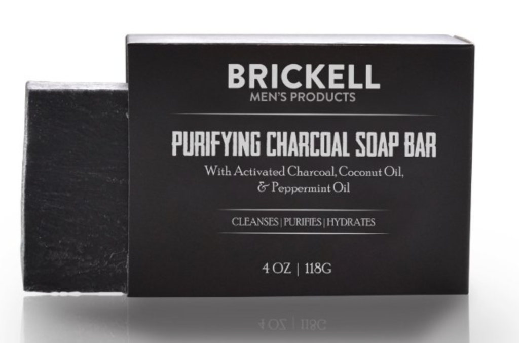 Brickell Purifying charcoal bar soap for men front of packaging