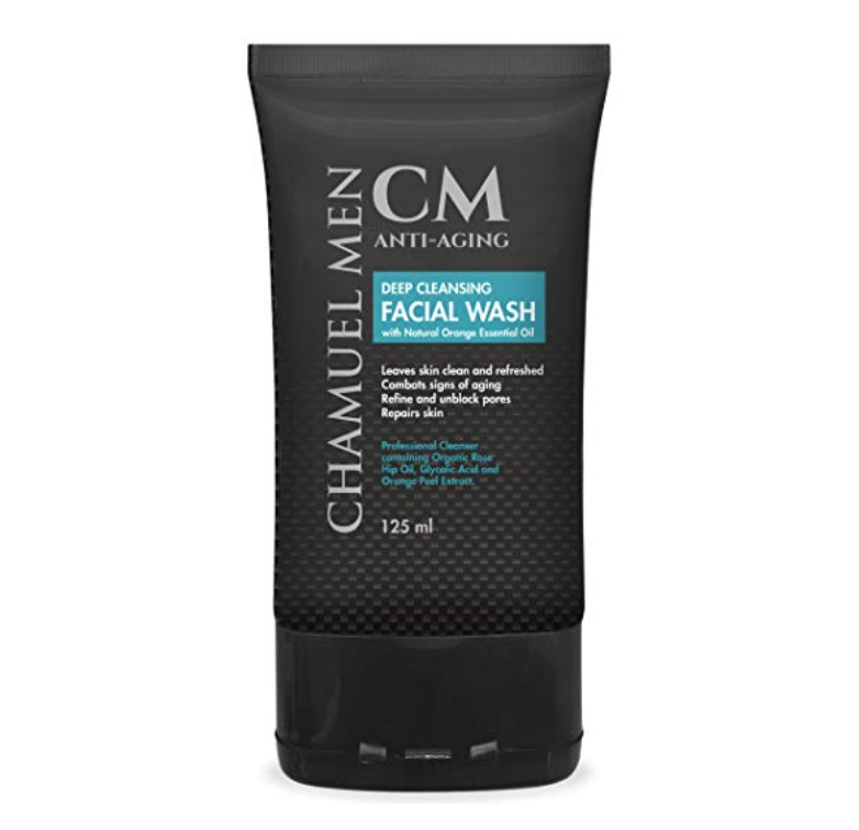 Bottle of Chamuel Men deep cleansing facial wash - best men's face wash for oily skin.