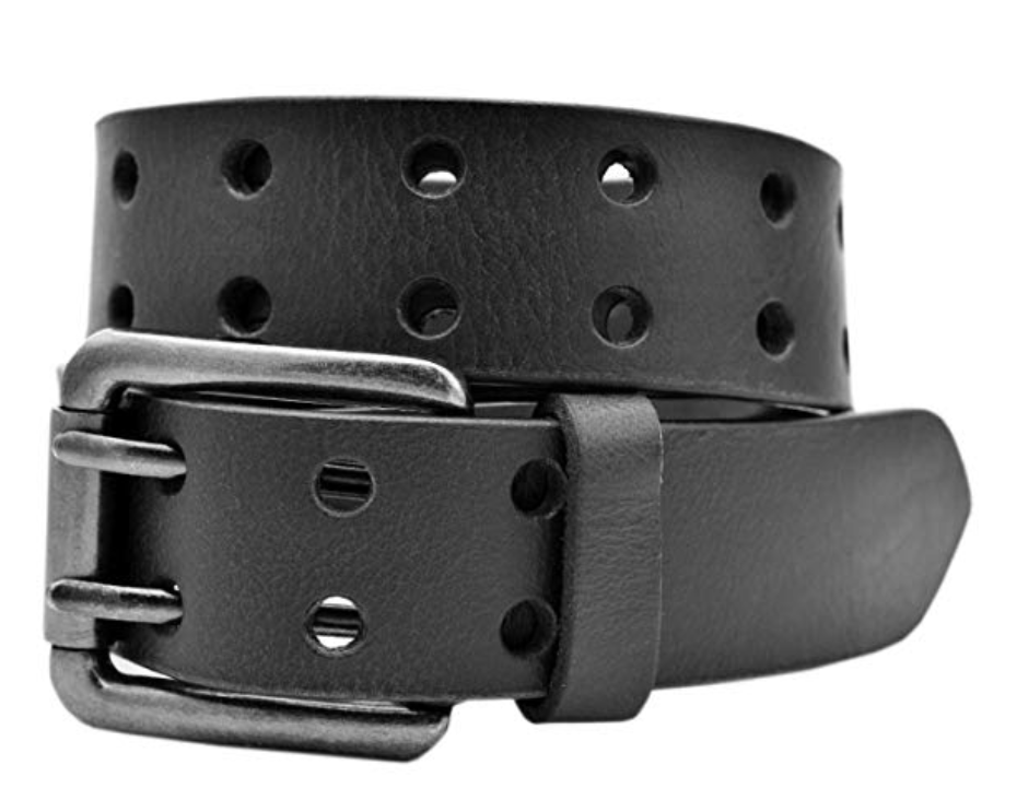 full grain buffalo leather double prong belt black