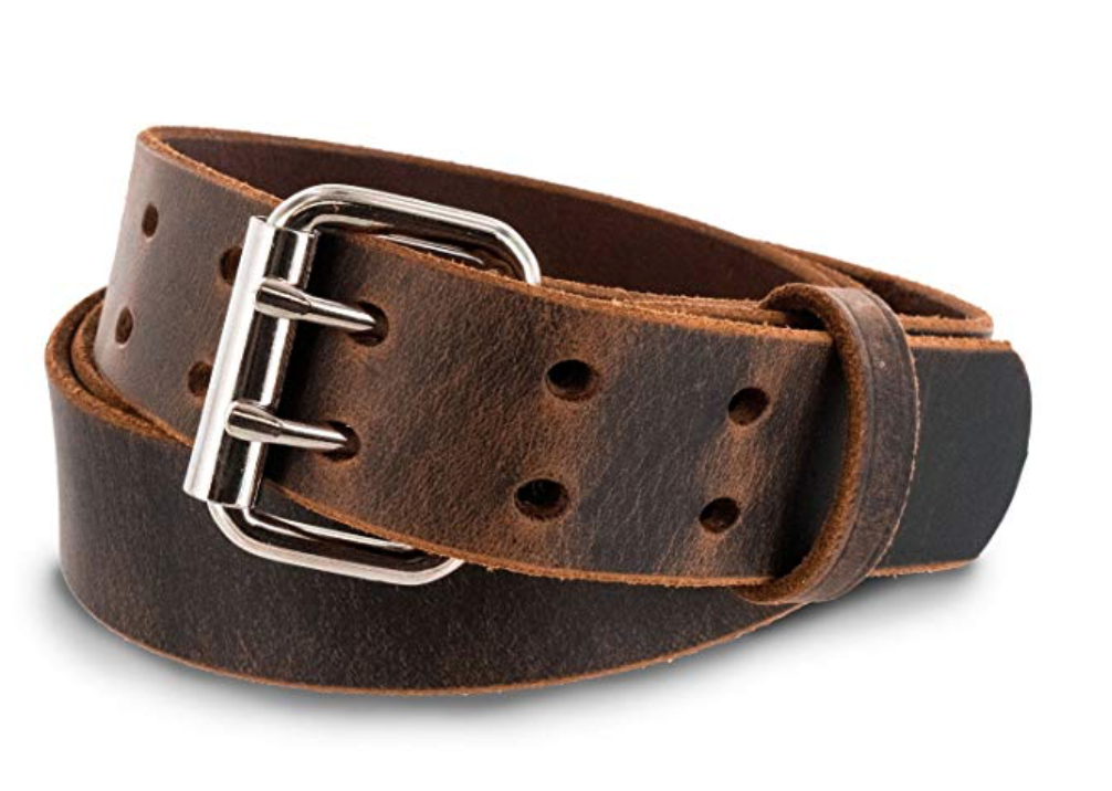 Hank's legend double prong leather belt brown