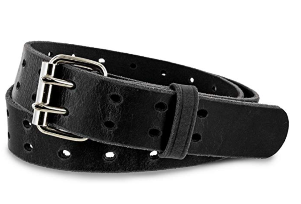 Hank's woodstock double prong leather belt black