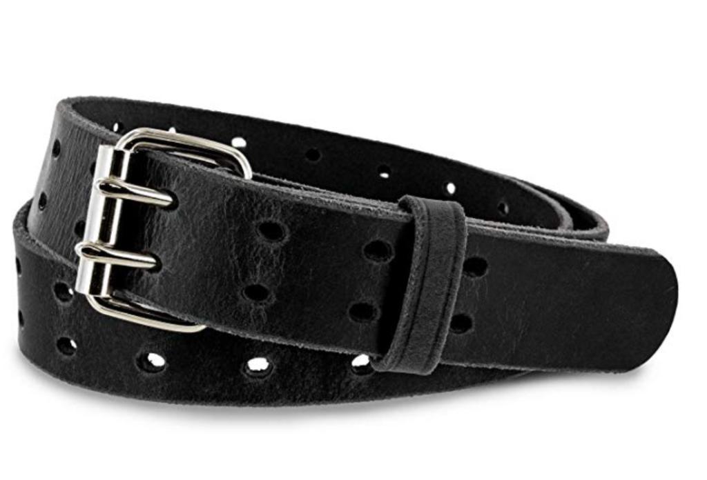 Hank's woodstock double prong leather belt black