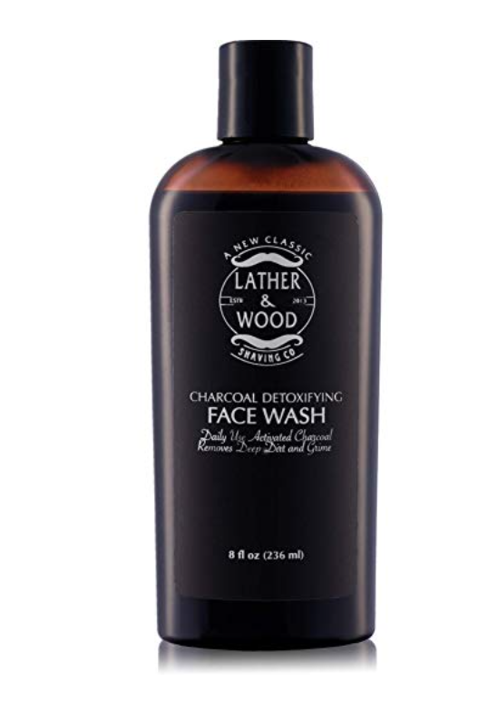 Bottle of lather and wood charcoal face wash for men - best men's face wash for oily skin.