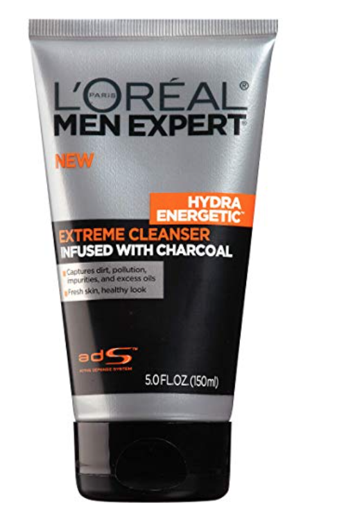 A tube of L'oreal men expert charcoal face wash for oily skin.