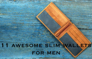 leather wallet on wooden background. Top view. With text reading 11 awesome slim wallets for men