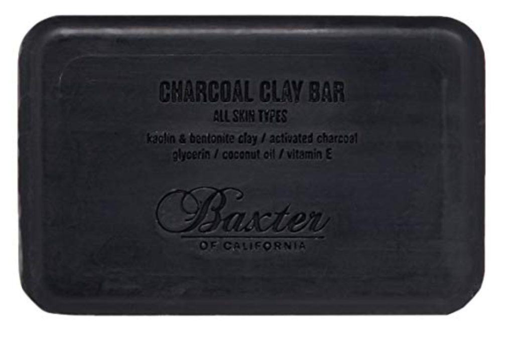 Baxter of California best charcoal bar soap for men front with logo and ingredients