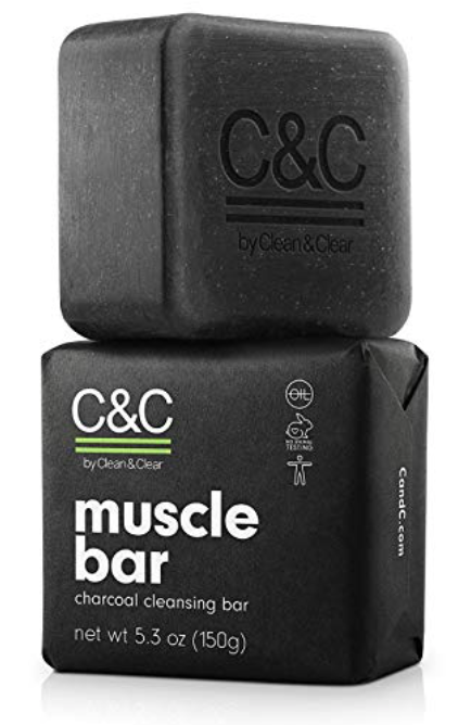 C&C charcoal Muscle Bar soap for men front display with packaging
