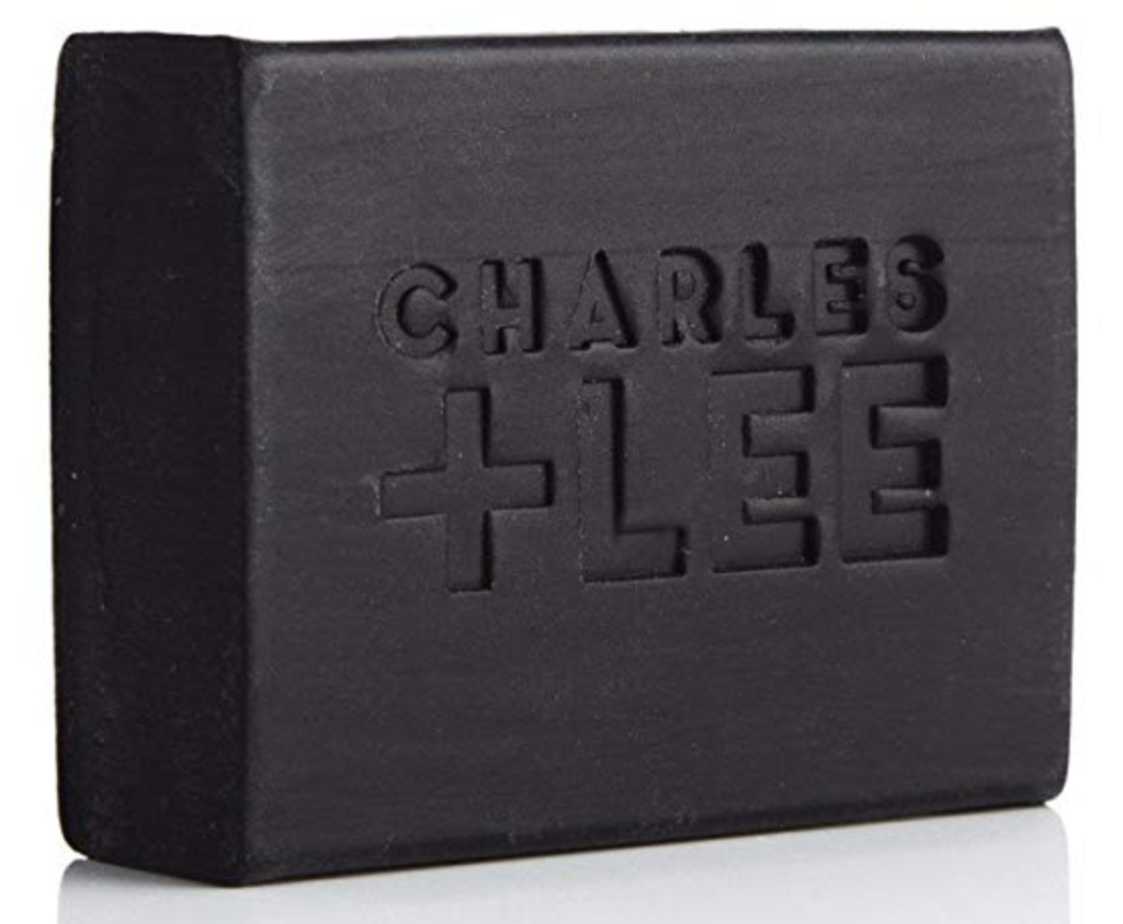 CHARLES + LEE best activated charcoal bar soap for men front with logo