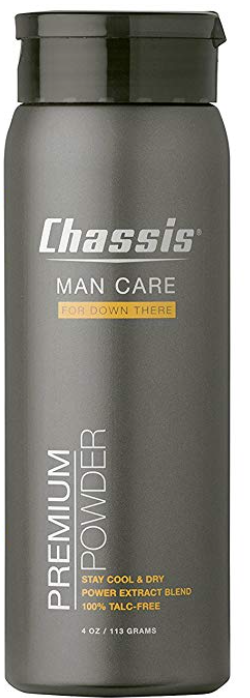 Chassis men's ball and body powder 4oz bottle front