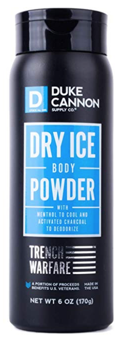Duke Cannon Dry Ice Trench Warfare men's body and ball powder 6oz bottle front