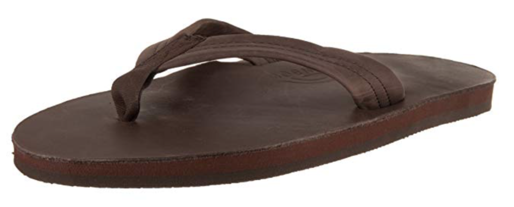 Rainbow leather flip flop for men in brown mocha - angle view