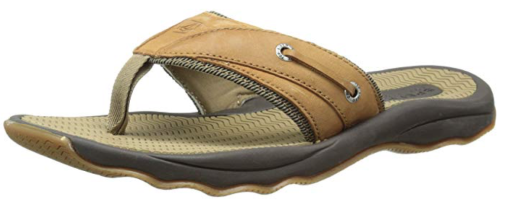 Sperry Top-Sider Outer Banks men's leather flip flop sandal. side view. Tan