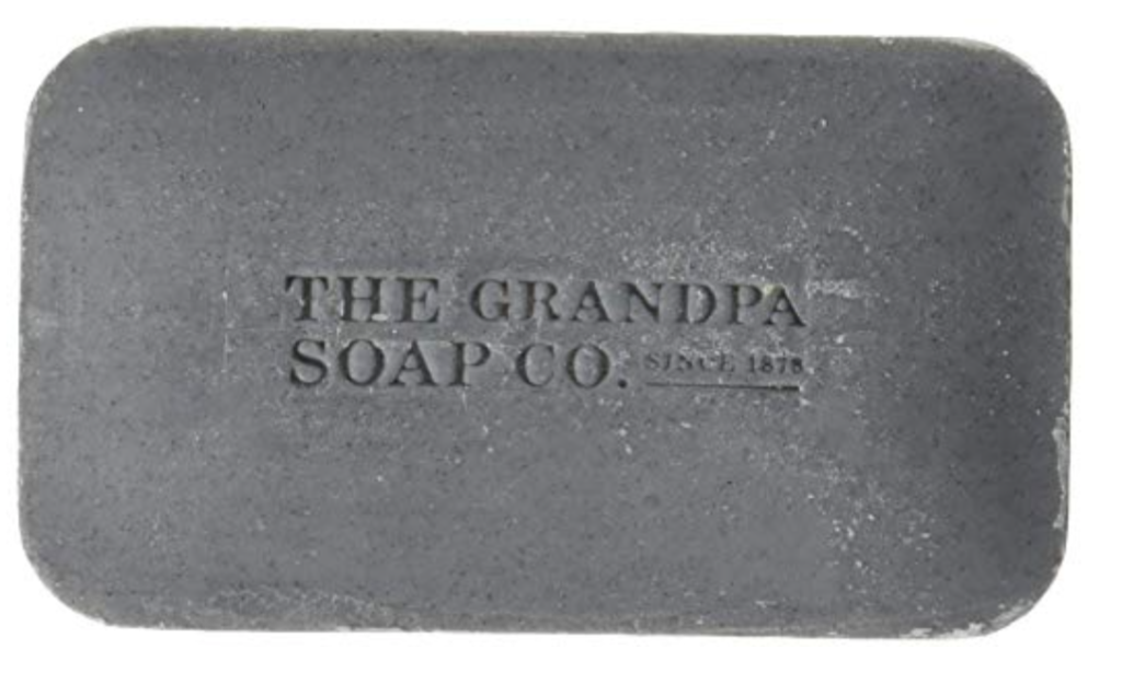 The Grandpa Soap Co. best charcoal bar soap for men. Front.