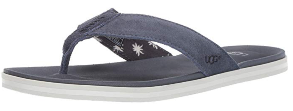 UGG Beach leather flip flop in suede blue