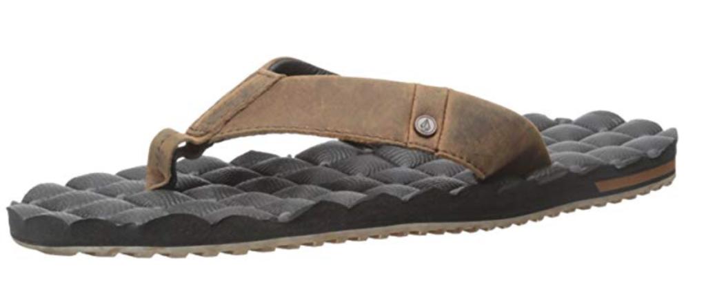 Volcom Recliner men's leather flip flops sandal in vintage brown color - angle view