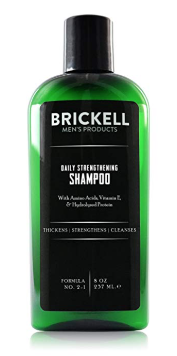 Brickell daily strengthening shampoo for men with long hair 8 ounce bottle