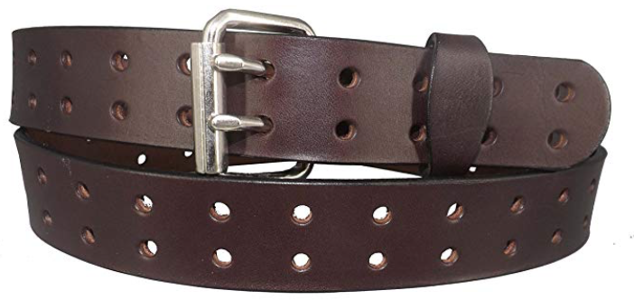 Coblentz English bridle leather double prong belt for men front