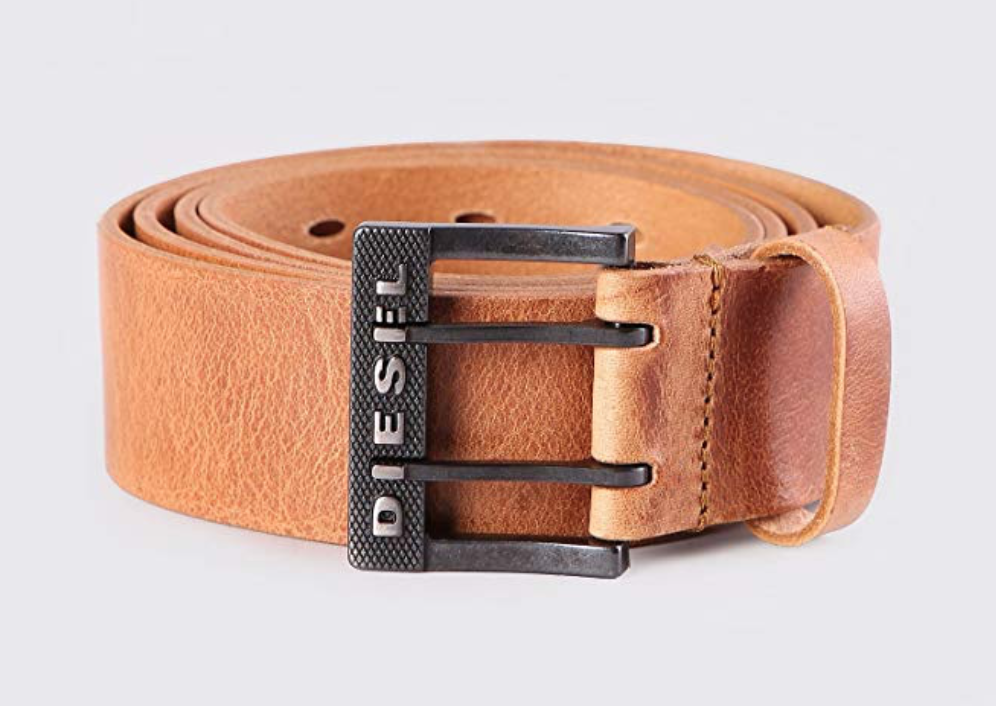 Diesel Bit LI men's double prong leather belt front with buckle