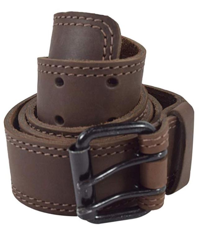 Hide & Drink double prong leather belt for men brown