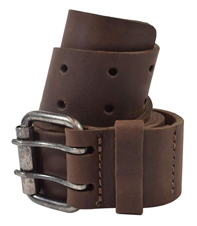 Hide & Drink brown leather double prong belt wrapped in a coil