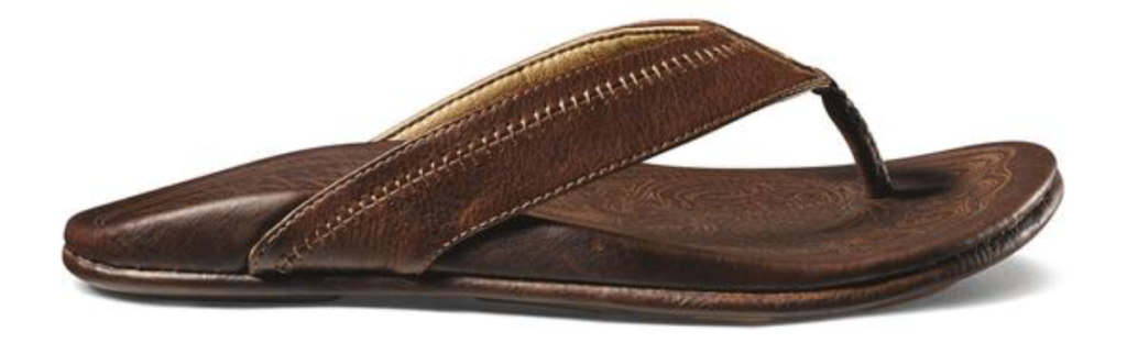 OluKai Hiapo men's leather flip flop sandal side angle brown