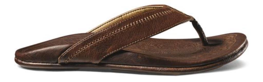 OluKai Hiapo men's leather flip flop sandal side angle brown