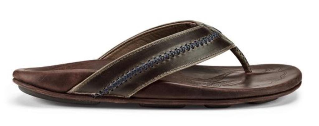 Olukai Mea Ola mens leather flip flop sandal side view