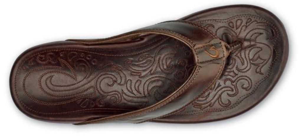 OluKai Waimea men's leather flip flop top view