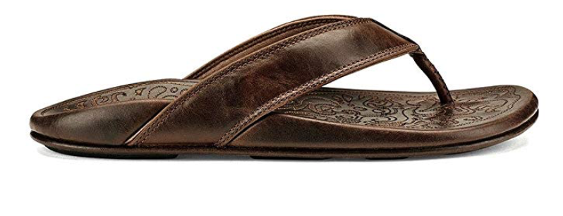 OluKai Waimea men's leather flip flop side view