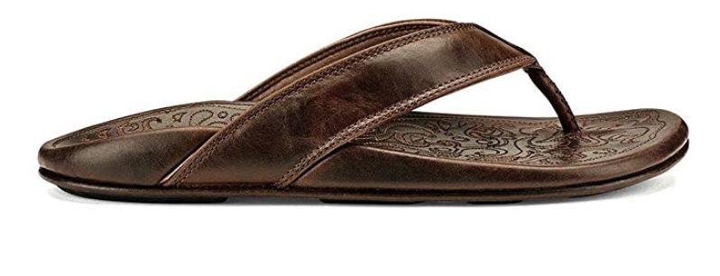 OluKai Waimea men's leather flip flop side view