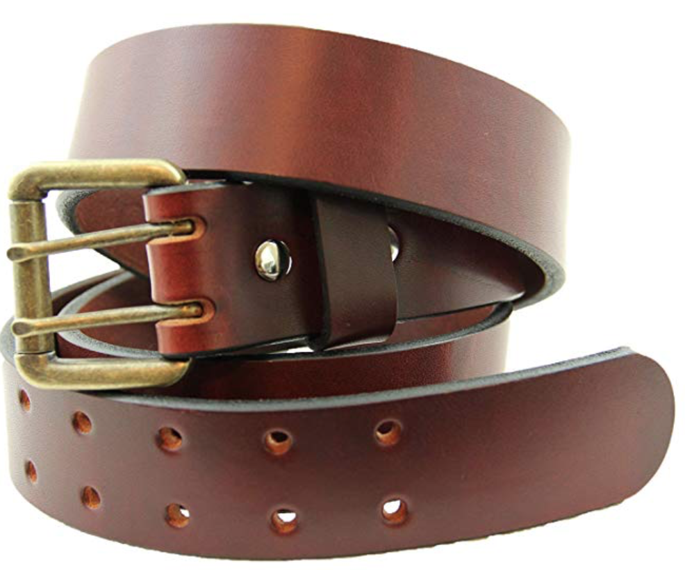 Orion chestnut double prong leather belt in a coil
