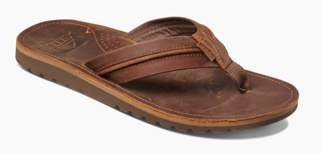 Reef voyage lux brown leather men's flip flop angle view