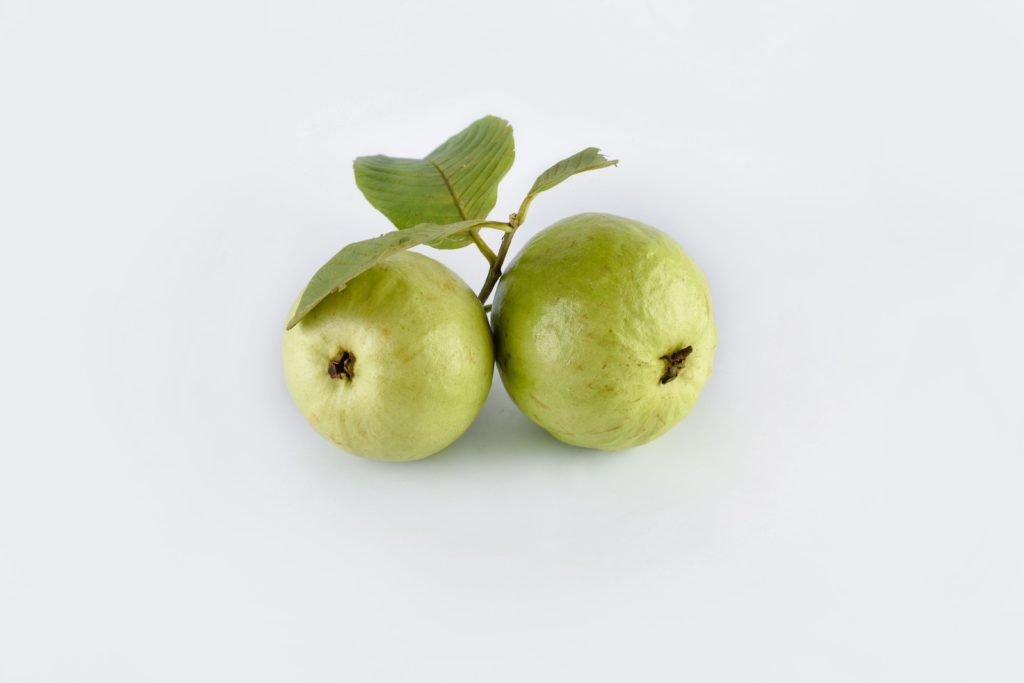 two guava fruits on a white background