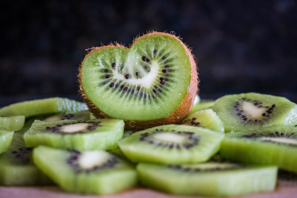 closeup of sliced kiwi fruit