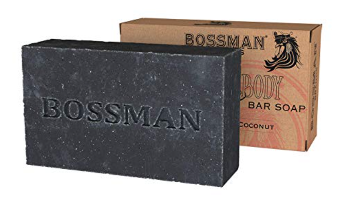 Bossman 4-in-1 bar soap for hair with packaging