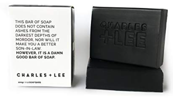 Charles + Lee exfoliating charcoal bar soap for men 2 bars with box