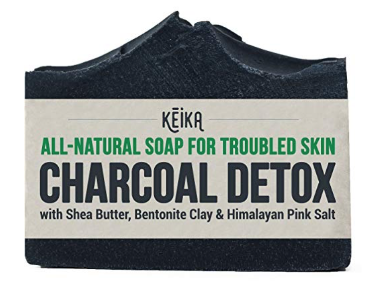 Keika Naturals charcoal bar soap for acne with packaging