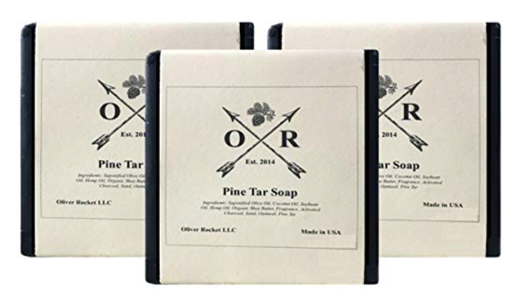 Oliver Rocket Pine Tar bar soap set of 3 with white packaging