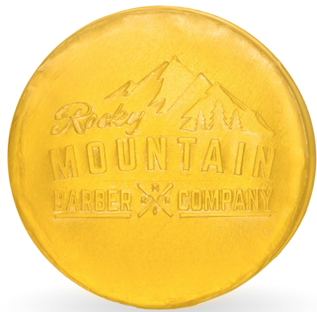 Rocky Mountain Barber Co. shampoo bar soap for hair front with logo