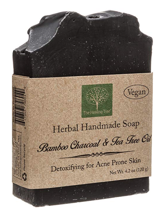 The Healing Tree 4.2 ounce charcoal bar soap for acne with brown packaging