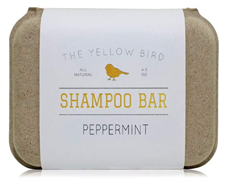The Yellow Bird shampoo bar soap for hair 4.5 ounce inside packaging