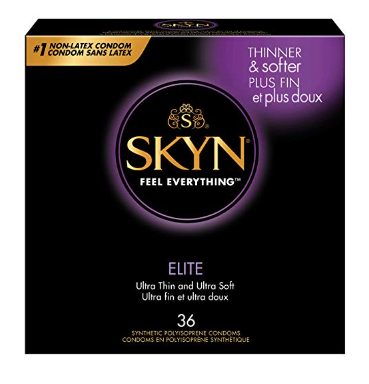 One box of SKYN Elitebest non latex condoms for sensitive skin