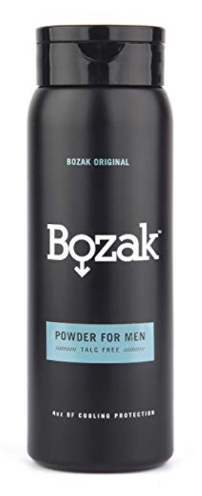 4 ounce bottle of Bozak powder for men's balls and body