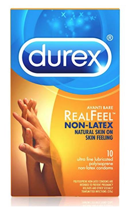 One box of Durex RealFeel latex free condoms for sensitive skin