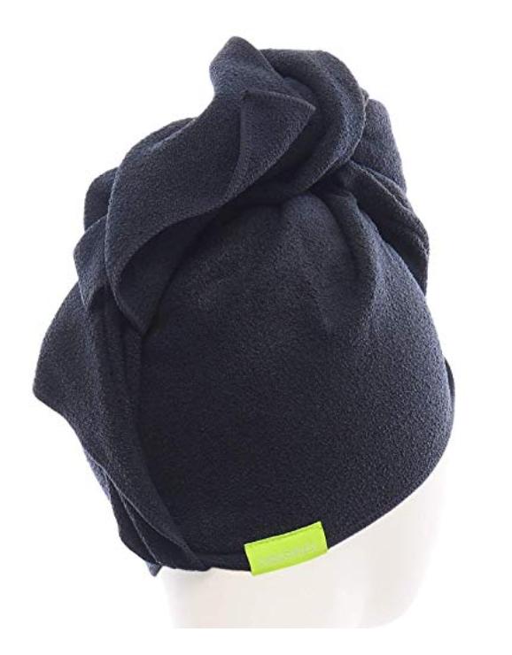 Black microfiber hair towel wrap
